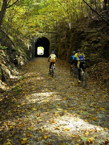 Rocheport, MO - Katy Trail tunnel.  The Katy Trail, the former route of the MKT railroad, is a scenic trail spanning the state from Machens, northeast of St. Charles, to Clinton, in the western portion of the state.    Its flat surface winding along the Missouri River at times, through farmland and beside small towns make it a great trail to bike or hike.