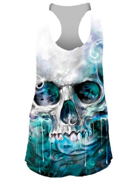 """Shop for Women's """"Ocean Skull"""" Sublimation Tank by Lethal Angel (White) at Inked Shop. We've got coupon codes and discounts everyday!"""