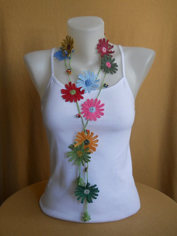 Handmade Necklace Crochet Necklace Lariat by ZekiyesWorkshop, $30.00