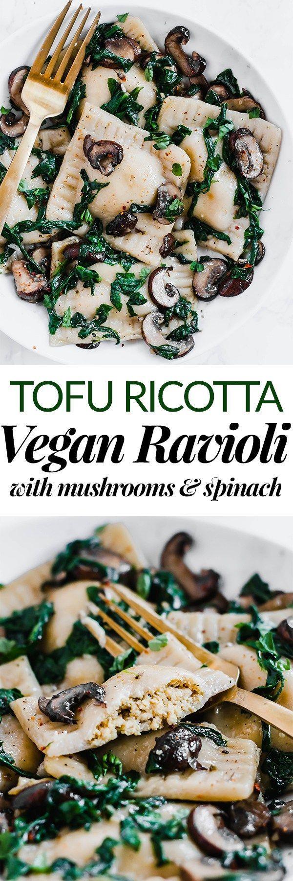 Tofu Ricotta Vegan Ravioli aux Champignons