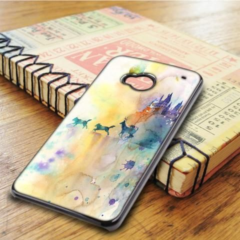 Watercolor Harry Potter The Deathly Hallows Gryffindor Slytherin Hufflepuff Ravenclaw HTC One M7 Case