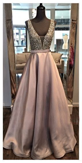 2017 Gorgeous A Line Beading Prom Dress,Chocolate Color V Neckline Evening Dress for Women,Satin Fabric Prom Dress for Girls