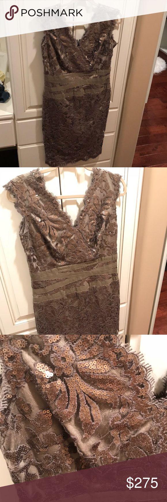 Tadashi Shohi Sequin Sheath Dress Tadashi Shoji dress - worn twice. Beautiful bronze/green golden shiny color, called smoke pearl. Similar dresses available at Nordstrom's and Bloomingdales. Tadashi Shoji Dresses