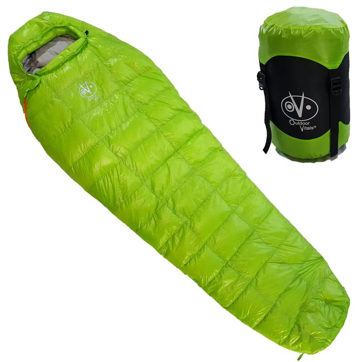 Amazon.com : Outdoor Vitals - Down 0 Degree High Quality Down Sleeping Bag, High Quality Down, Ultra Compactable, Light Weight, Compression Bag (Green) : Sports & Outdoors