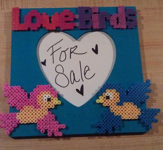 Sparrows Love Birds Heart picture frame Perler by ValeriasMarvels, $20.00