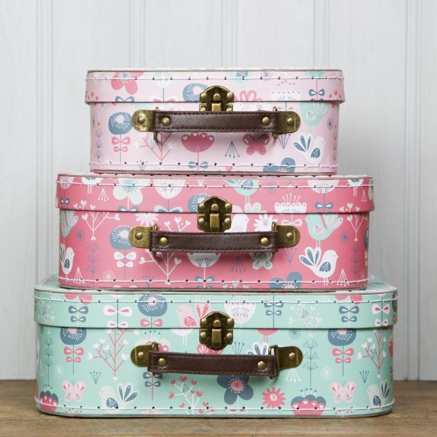 Scandi Birds Suitcases Set Of 3