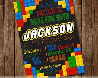 LEGO Inspired Building Blocks Birthday Party Invitation