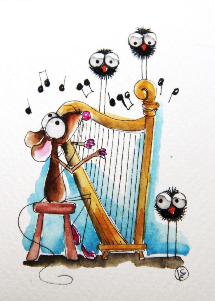 Raton con arpa | Animales dibujos animados, Dibujos, Ilustraciones