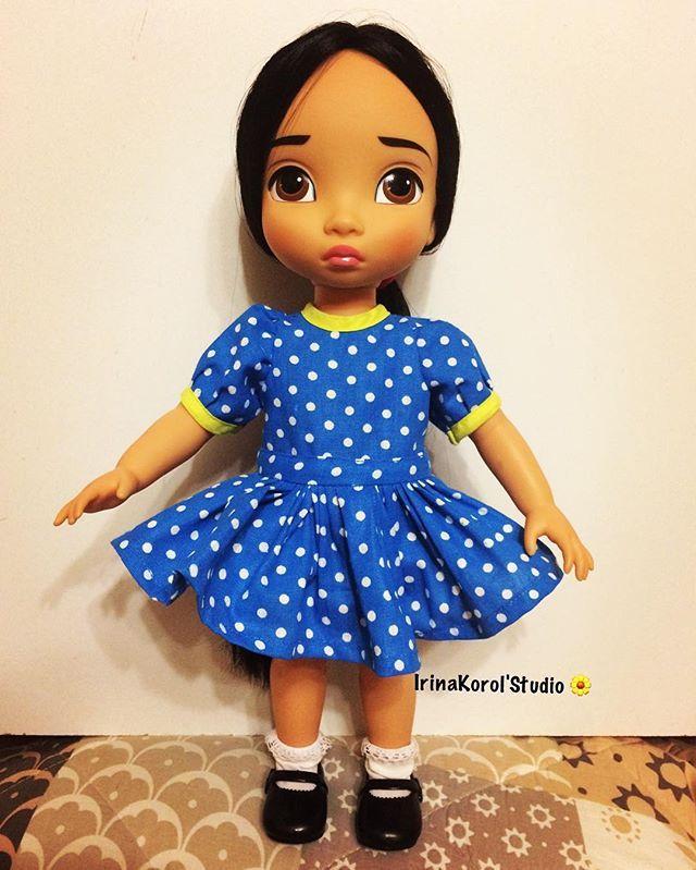 Синее платье в горох. #Disneyanimatorspocahontas #Disneyanimators #rapunzel #Pocahontas #одеждадлякукол #babydoll #ooak #pocahontos #handmade #dolldress #dressdoll #disneyanimatorscollection #repaintdoll #rapunzel #покахонтас #animatorsrepaint #dollart #вяжемдлякукол #куклы #диснейки #куклыдисней #disneyanimatorsrapunzel #детка #disneyanimatorsbaby #disneyanimatorcollection #irinakorolstudio #вязание #рукоделие #вязаниекуклам