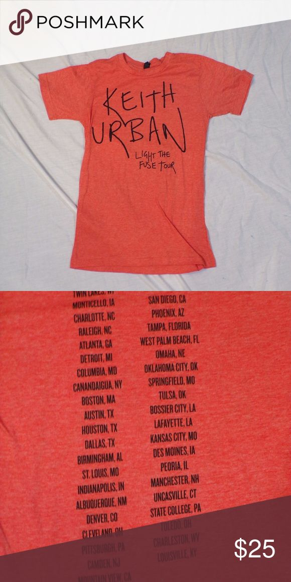 Keith Urban Light The Fuse Tour Shirt From Keith Urban's 2013 Light The Fuse Tour. Tour dates on back. Heathered red. EUC. Pet Friendly + Smoke Free Home. Tops