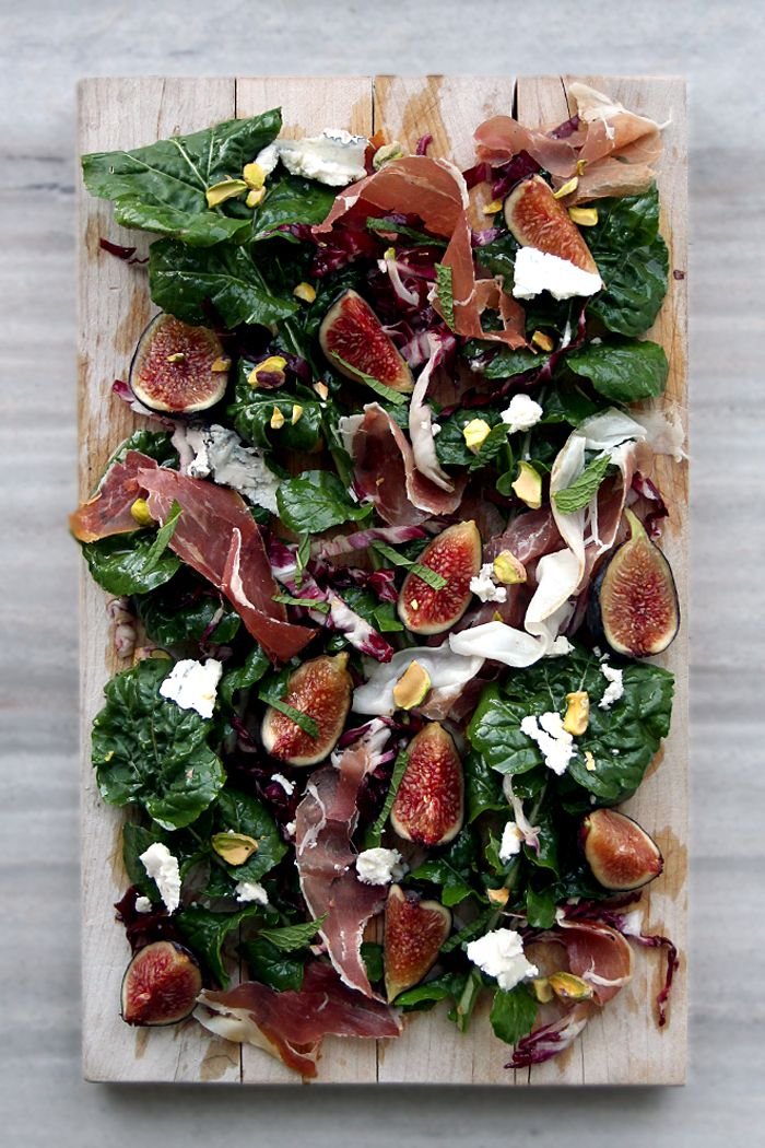 Fig, Arugula Prosciutto, Pistachios, and Humboldt Fog (Goat Cheese) Salad — it's like a cheese/charcuterie plate in salad form!
