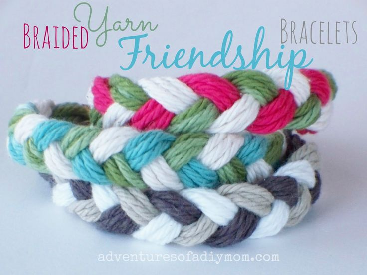How to Make Braided Yarn Friendship Bracelets by Adventures of a DIY Mom. #DIY #Bracelet #Jewelry