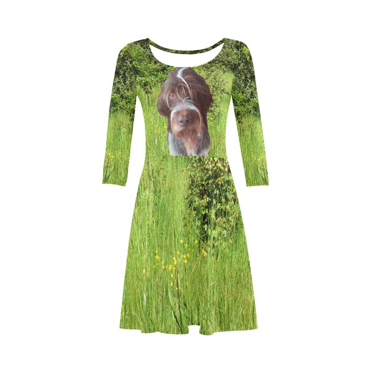 Dog and Flowers 3/4 Sleeve Sundress. Material: 92% Polyester, 8% Spandex, well made lightweight soft fabric, skin-friendly. Sizes: XS, S, M, L, XL, XXL, XXXL.FREE Shipping. #beoriginalstore #dresses