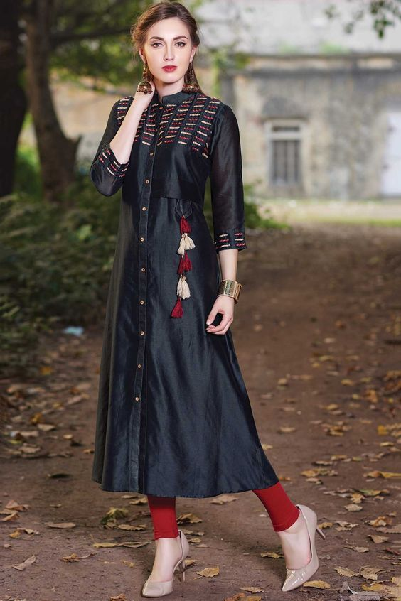 Samyakk Black Silk Embroidered Front Cut Kurti