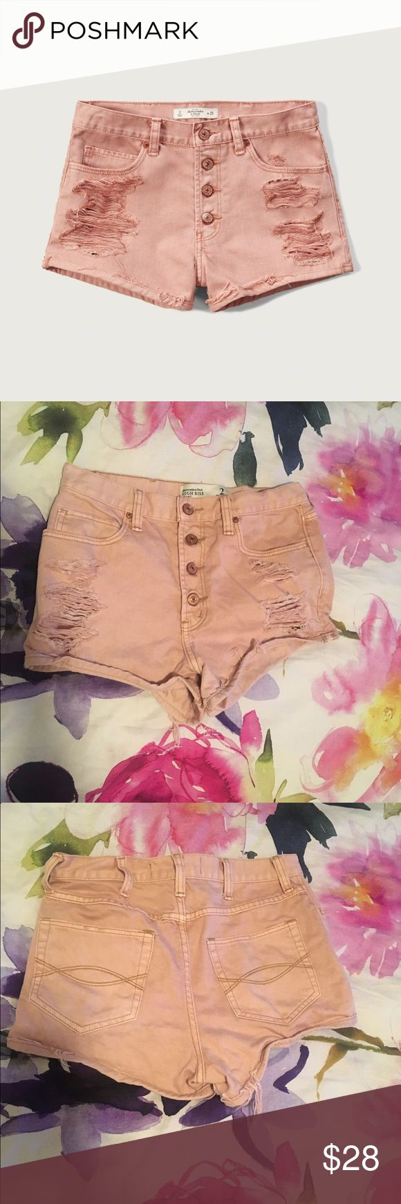 """Abercrombie & Fitch High-Rise shorts BRAND NEW w/o tags - NEVER WORN! Cute high rise denim shorts 2"""" in length. Salmon color. Love these & very flattering. Abercrombie & Fitch Shorts Jean Shorts"""