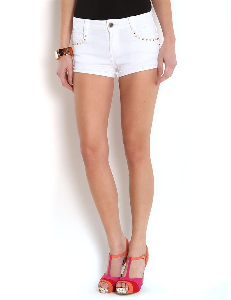 Mini-short en jean clouté #MORGANDETOI #shorts #summer