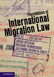"""Brian Opeskin, Richard Perruchoud, Jillyanne Redpath-Cross, eds., Foundations of International Migration Law, Cambridge Univ. Press (Nov. 2012); includes chapters on """"Nationality and Statelessness,"""" """"Refugees and Asylum,"""" and """"Human Trafficking and Smuggling,"""" among others"""