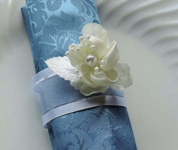 SILVER NAPKIN RING Floral and Pearls by ModernClassicbyCarol