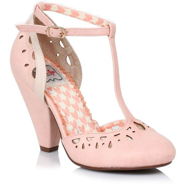 Peach Perforated Leatherette Elsie Vintage T-Strap Pumps ($82) ❤ liked on Polyvore featuring shoes, pumps, peach, synthetic shoes, closed toe shoes, t strap pumps, peach shoes and vintage shoes