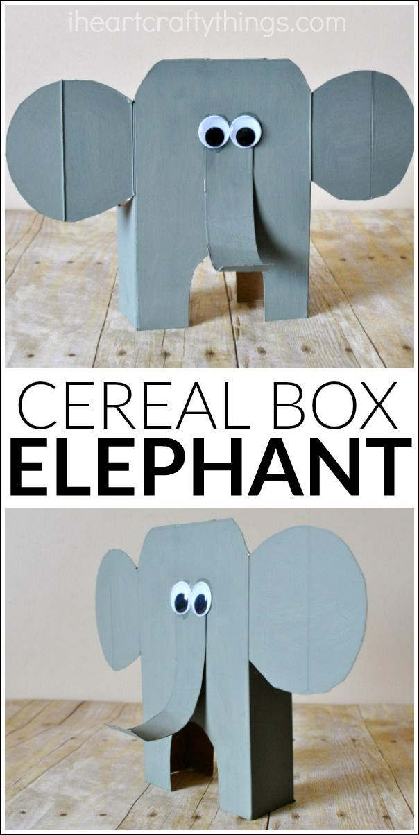 DIY tutorial for how to turn a cereal box into an awesome cereal box elephant craft. It makes a great animal craft for kids, summer kids craft, zoo craft for kids and recycled craft.