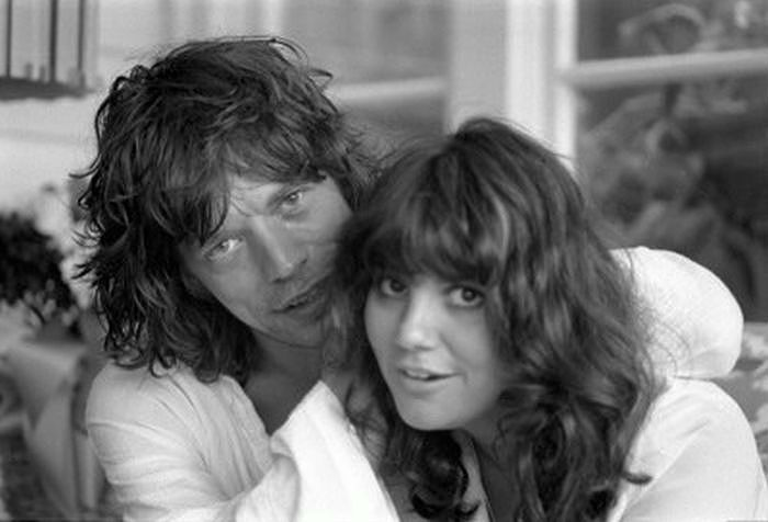 """Linda Ronstadt and Mick Jagger, Malibu, CA 1976 """"Ronnie Wood's House in Malibu was a magnet for musicians and Linda was just..."""