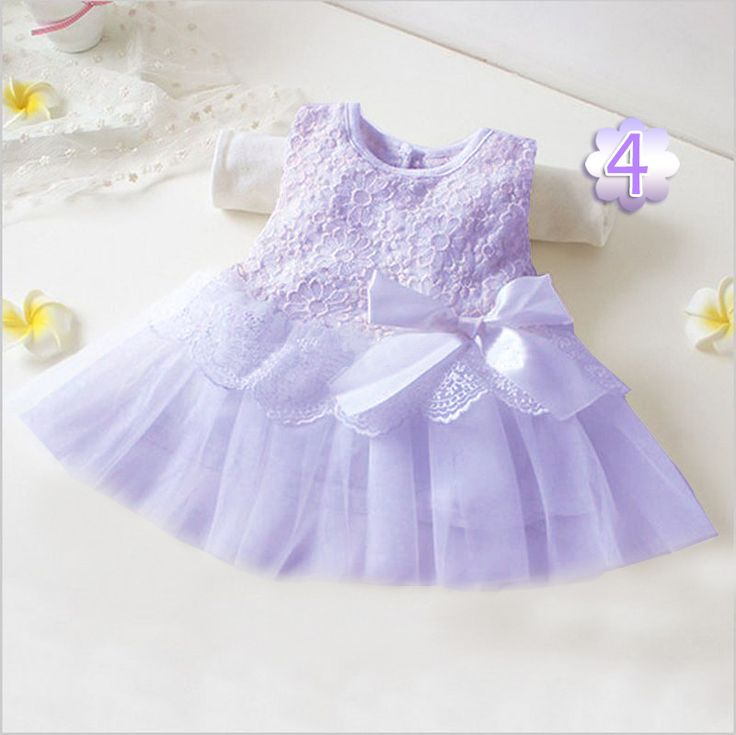 2016 Baby Girl Dress Summer Baby Bow Chiffon Dress Infant Sleeve Length Dot Dress Birthday Dress Baby Clothes Months