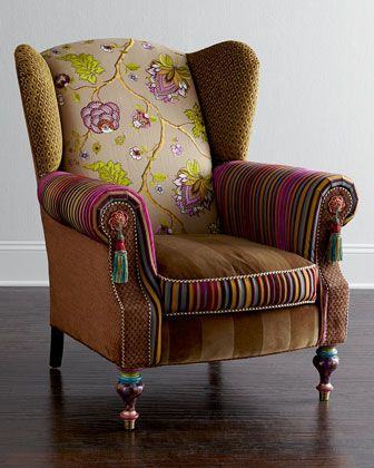 Bittersweet Wing Chair by MacKenzie-Childs at Horchow. BOHEMIAN STRIPPER CHAIR (it's wearing pasties)