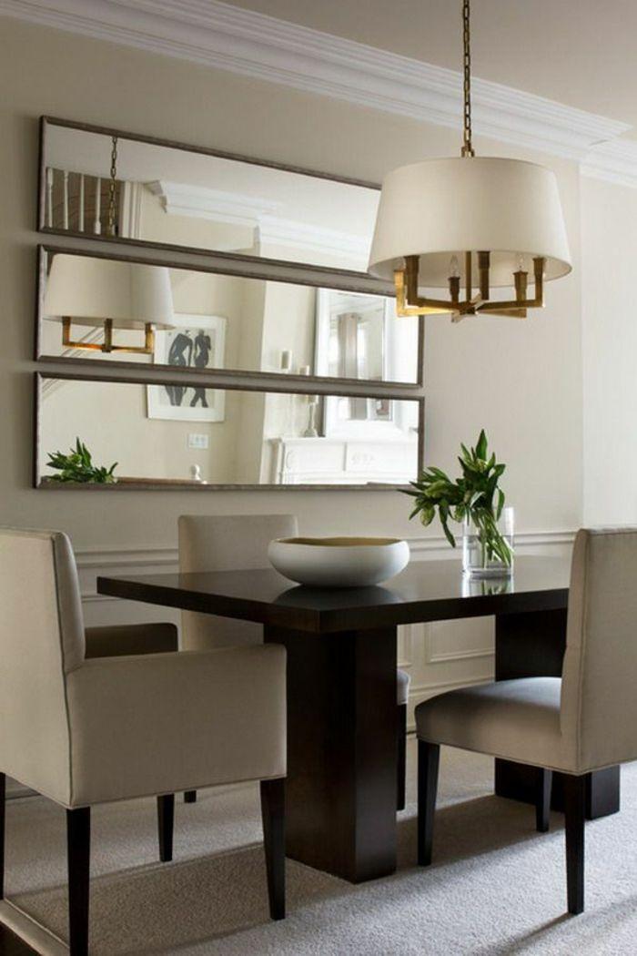 salle a manger complete pas cher avec murs beiges et lustre blanche