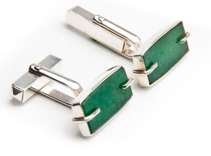 Ioana Enache - Romanian Designer  Jade Cufflinks - Unique Product  Made of: 925 sterling silver and jade.
