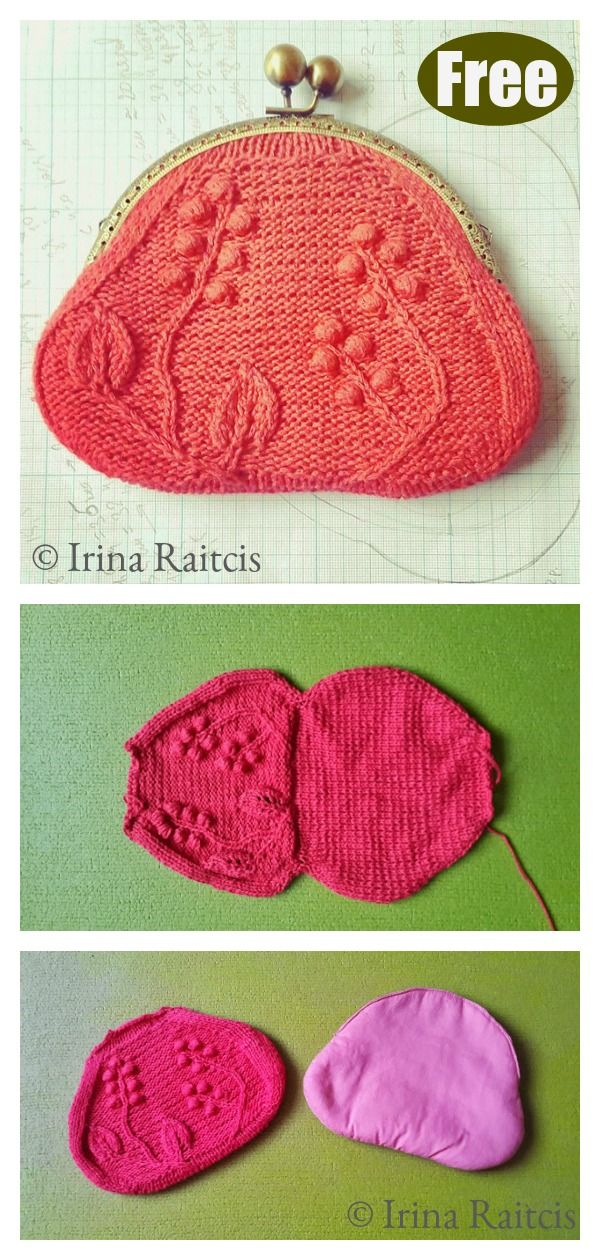 Purse with Leaves and Bobbles Free Knitting Pattern in ...