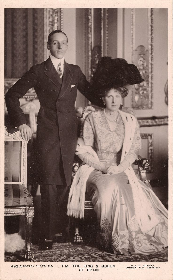 Alfonso XIII (Alfonso León Fernando María Jaime Isidro Pascual Antonio de Borbón y Habsburg-Lorena) King of Spain Born 17 May 1886, Madrid, Spain Died 28 February 1941 (aged 54)  Rome, Italy  Victoria Eugenie of Battenberg (Victoria Eugenie Julia Ena) Born 24 October 1887, Balmoral Castle, Scotland, UK Died 15 April 1969 (aged 81) Lausanne, Switzerland
