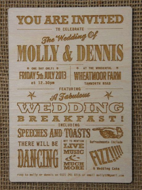 Funfare and playbill inspired design for a wooden wedding invitation.