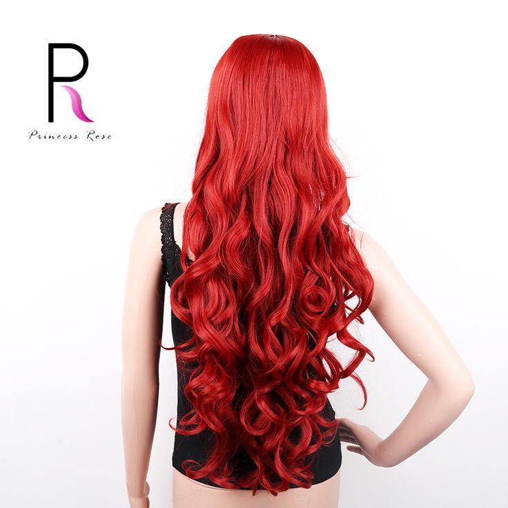 """32 """"80センチ長い人工毛コスプレかつらカーリー自然かつらperucas黒人女性ウィッグpelucas sinteticas赤青紫"""