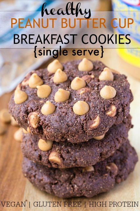 Healthy No Bake {Single Serve} Peanut Butter Cup Breakfast Cookies- Just FIVE minutes is all you'll need to make these delicious AND healthy cookies for breakfast which taste just like a Reese's Peanut Butter Cup! This single serve recipe is gluten free, vegan,  high in protein and very low in sugar! @thebigmansworld.com - thebigmansworld.com