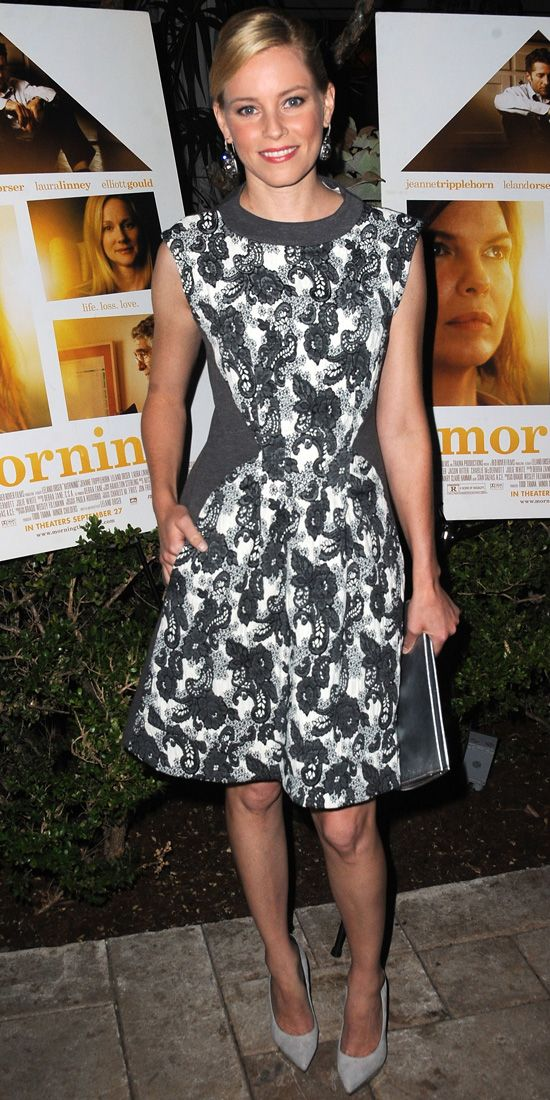 Banks attended a dinner to celebrate the film Movie in shades of gray—she wore a gray-and-white floral-paisley fit-and-flared dress, complet...