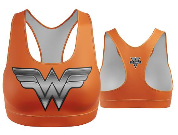 Custom Wonder Woman Sports Bra Orange with Silver Breastplate | Yoga Bra | Women's Bra | Yoga Top | Gym Bra | Yoga Wear | Gym Bra | Exercise Bra | Workout Top | Bikini Top | Plus Size Bra | Bra | SportsBra | Work Out Bra | Gym Wear | Super Hero Bra | DC Comics |  Made in the USA. -Custom Sports Bra designed, printed, cut and sewn to order in Phoenix, AZ -Great gift for her -82% Polyester / 18% Spandex blend. -4 way stretch which means fabric stretches and recovers both on the cross and l...