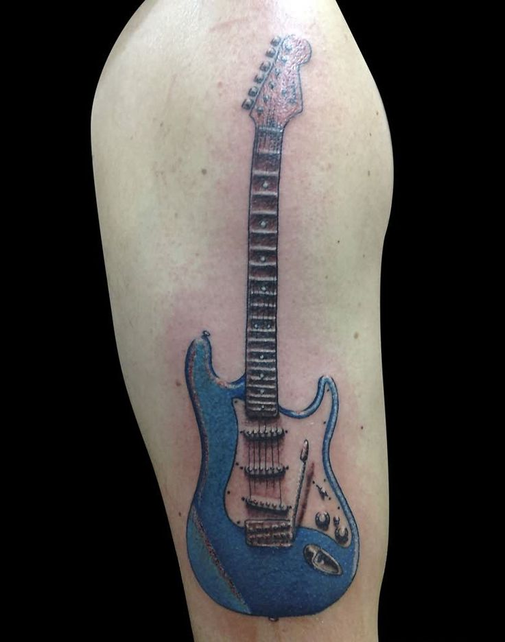 blue guitar tattoo on shoulder tattoos music love pinterest guitar tattoo tattoo and. Black Bedroom Furniture Sets. Home Design Ideas