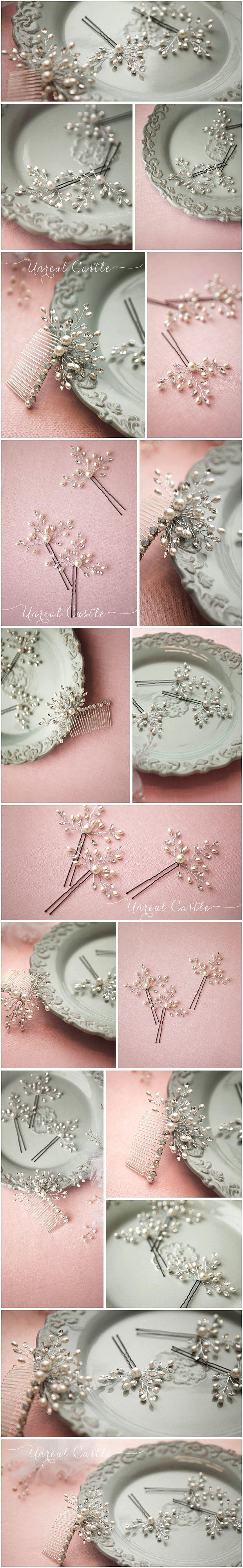 UnrealCastle маленький волос, как листья жемчуг хрустальные аксессуары свадебный волосы подключить Боб корейский обычай свадебный головной убор - Taobao