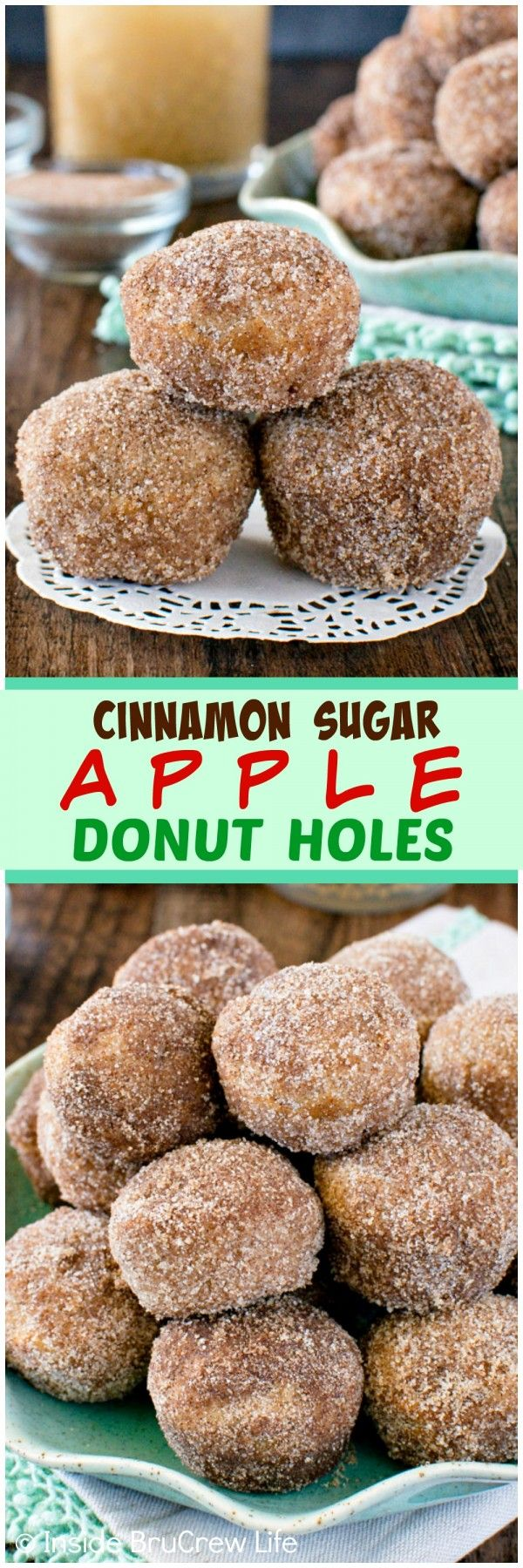 Cinnamon Sugar Apple Donut Holes - three times the apple goodness & a buttery sugar coating will make these little donuts disappear in a hurry. Great breakfast recipe for fall mornings!