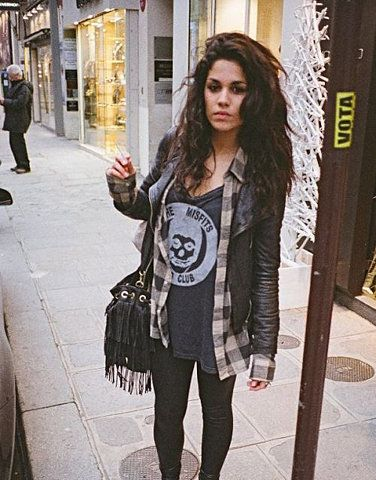 Cute rocker casual with great hair! (Minus the cigarette.)