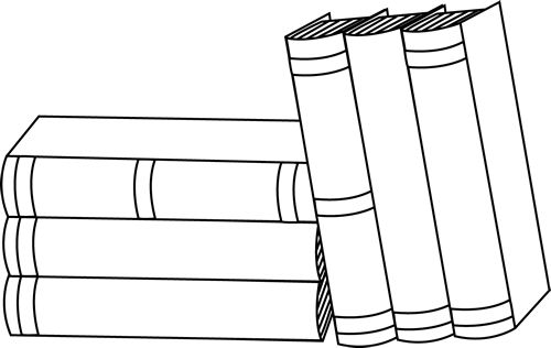 stack of books clip art | of Books Clip Art Image - black and white outline of a stack of books ...
