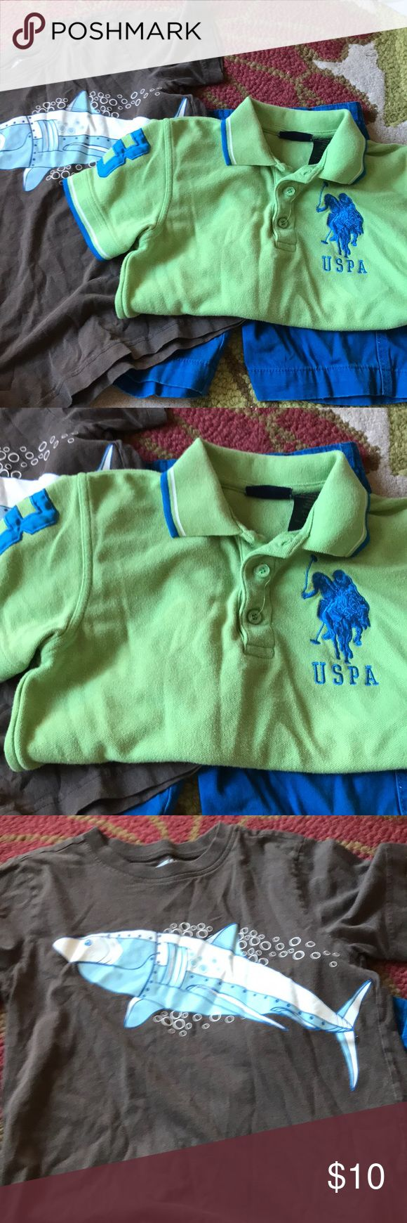 Polo shirt .. shorts.. and T-shirt Polo shirt blue and lime green shorts blue T-shirt brown with fish that is blue and white minute no rips tears or stains Matching Sets