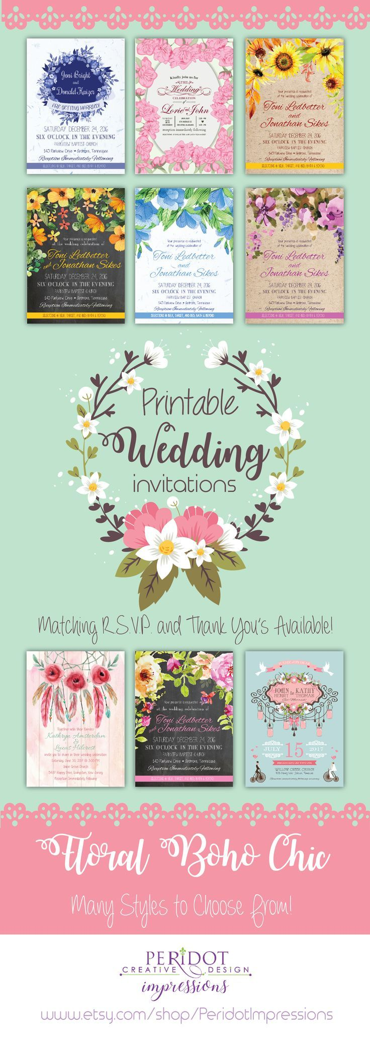 indian wedding cards wordings in hindi%0A Printable Boho Chic Floral Wedding Invitations  Fully Customizable   Matching RSVP cards and Thank You