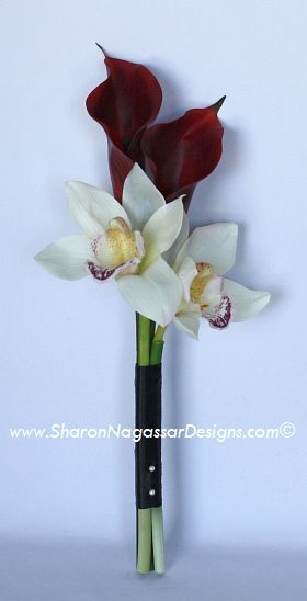 orchid and calla lilies bouquet fuschia | ... - Red Burgundy Calla lilies and white off-white cymbidium orchids