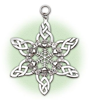 "Celtic Snowflake Ornament    Let it snow! Interwoven claddaghs and Celtic knots are artfully fashioned into an intricate snowflake of highly polished sterling silver over pewter. USA. 2 1/2""   http://www.shopirish.com/"