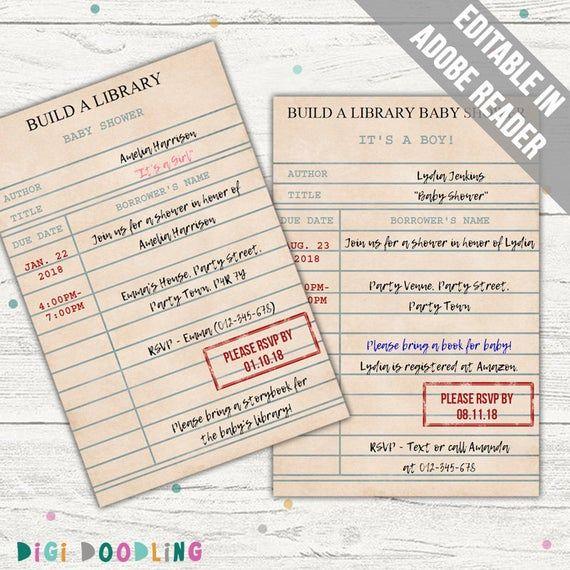 Library Card Invitation Baby Shower Wedding Birthday