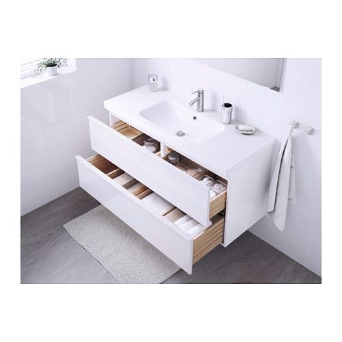 GODMORGON / ODENSVIK Kommod med 4 lådor - högglans vit - IKEA