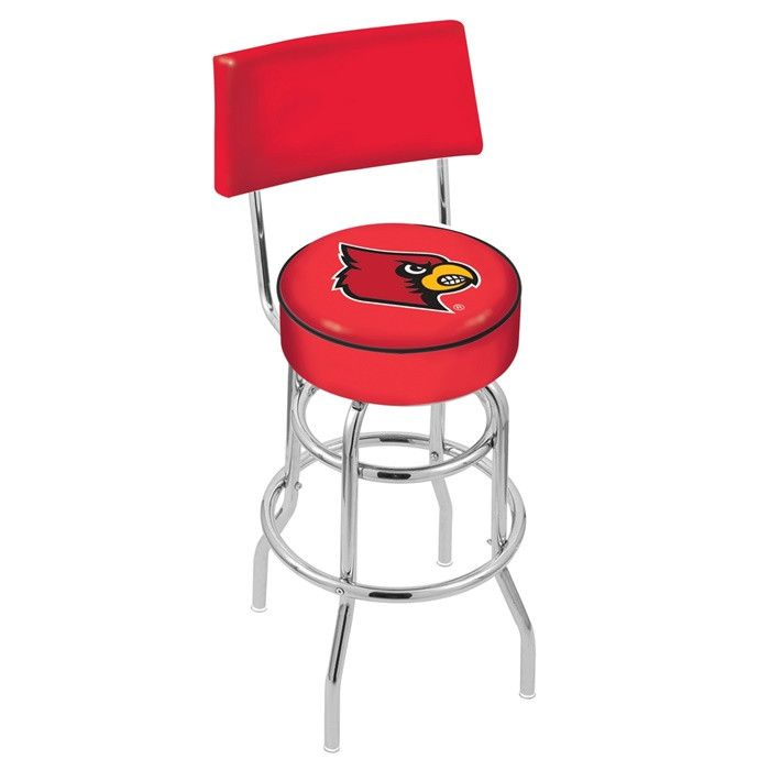 Louisville Cardinals Chrome Retro Bar Stool with Back