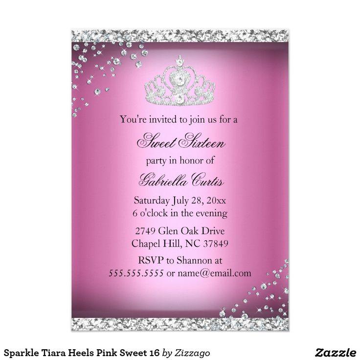 Sparkle Tiara Heels Pink Sweet 16 Card
