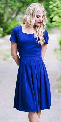 Modest Harlow Dress (Blue) – ModestPop.com